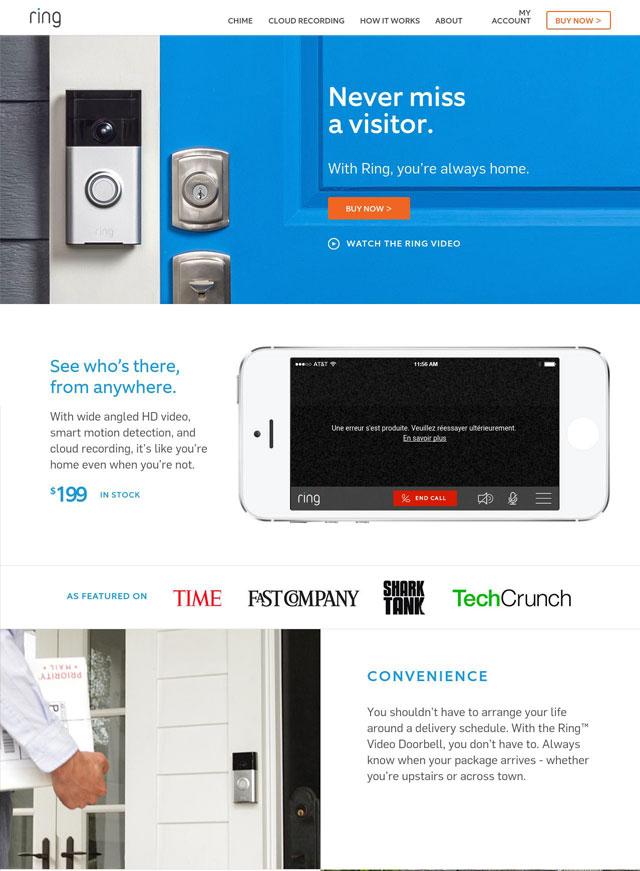 Ring.com Landing Page